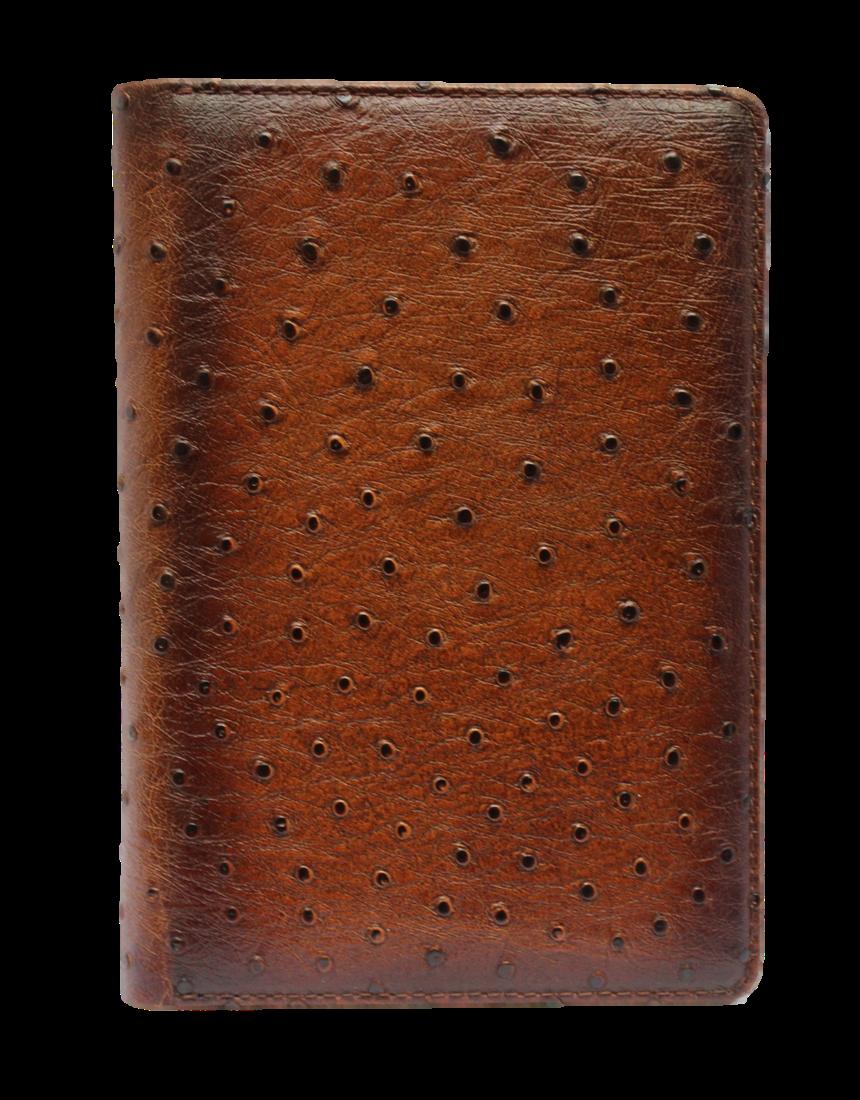 Визитница большая 3-х секционная (натуральная кожа) Страус