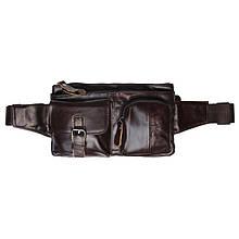 Мужская кожаная поясная сумка Keizer k1886-dark brown