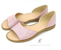 Кожаные босоножки пудра на низком ходу, розовые босоножки 37 размер
