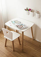 Комплект стол и стул детский от четырех до семи лет белый