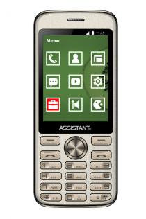 """Кнопочный телефон с большим дисплеем и удобными кнопками на 2 сим карты Assistant AS-204 Gold 2.8"""""""