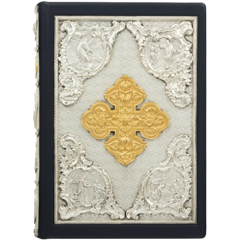 Книга Библия с медными накладками с позолотой, серебрением, сканью, эмалями