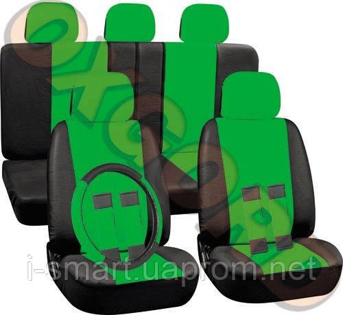 Авточехлы  автомобильная кожа комби + чехол на руль + 4 на ремни