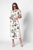 Летнее платье штапельное миди с открытыми плечами 42-52 размеры разные расцветки