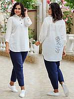 Женский костюм двойка (рубашка + брюки) батал от 48 по 62 рр муслин жатка, фото 1