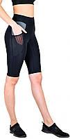 Велосипедки женские для фитнеса с высокой посадкой, спортивные шорты с карманами Valeri 1236 черные с серым