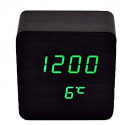 Часы настольные VST-872 с зеленой подсветкой, черные