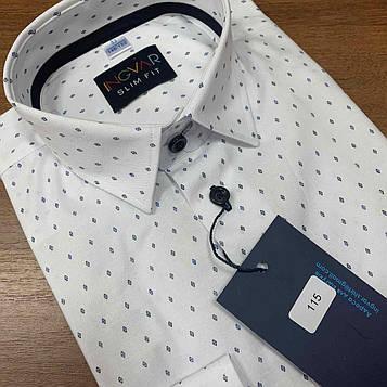 Рубашка детская белая с синим ромбиком. INGVAR