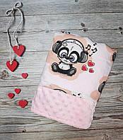 Плед для новорожденного плюш Минки + хлопок Польша 100*80