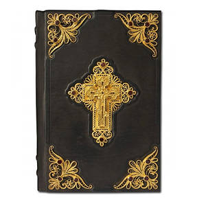 Библия с филигранью (золото) и гранатами (23*16*4)