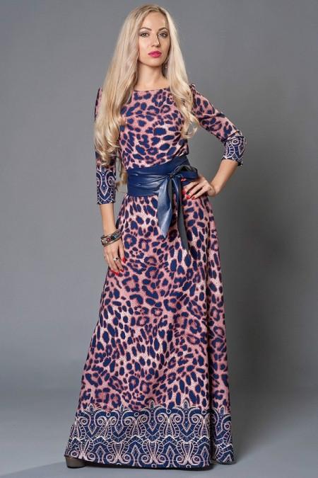 Длинное женское платье в пол с кожаным поясом