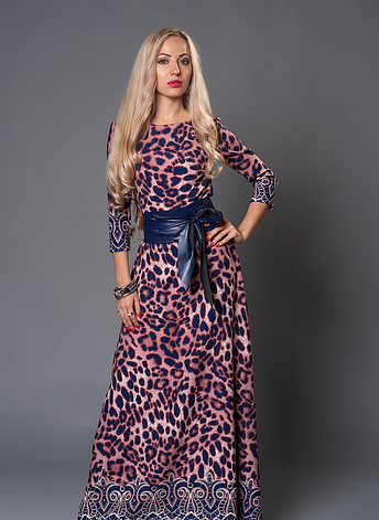 Длинное женское платье в пол с кожаным поясом, фото 2