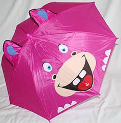 Зонт-трость детский Fiaba 3D малиновый бегимот с ушками