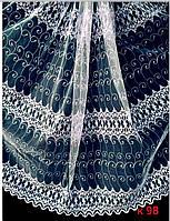 Гардина біла коротка з вишивкою висота 2 м /Гардина белая на фатине с вышивкой высотой 2 м, фото 1