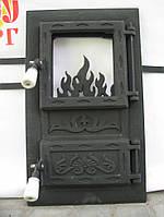 Печные дверцы со стеклом Велес №3, чугунные дверки для барбекю, сауны и печи