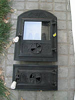 Печные дверцы со стеклом Велес №7, чугунные дверки для барбекю, сауны и печи