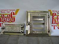 Печные дверцы со стеклом Велес №8, чугунные дверки для барбекю, сауны и печи, раздельные