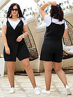 Женский лёгкий костюм двойка батал с 46 по 52 рр лён + вискоза, фото 1
