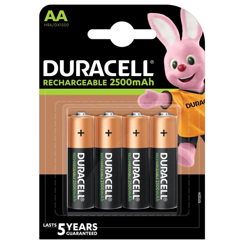 Аккумулятор Duracell Recharge Turbo DX1500, AA/(HR6), 2500 mAh, LSD Ni-MH, блистер 4шт