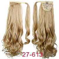 Накладной кудрявый хвост 27/613 пшеничный блонд. Хвост на ленте пшеничный блонд
