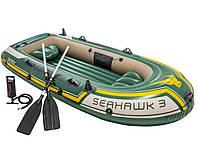 Лодка надувная трехместная Intex 68380 Seahawk 3 Set 295х137х43 см Зеленый, КОД: 1686972