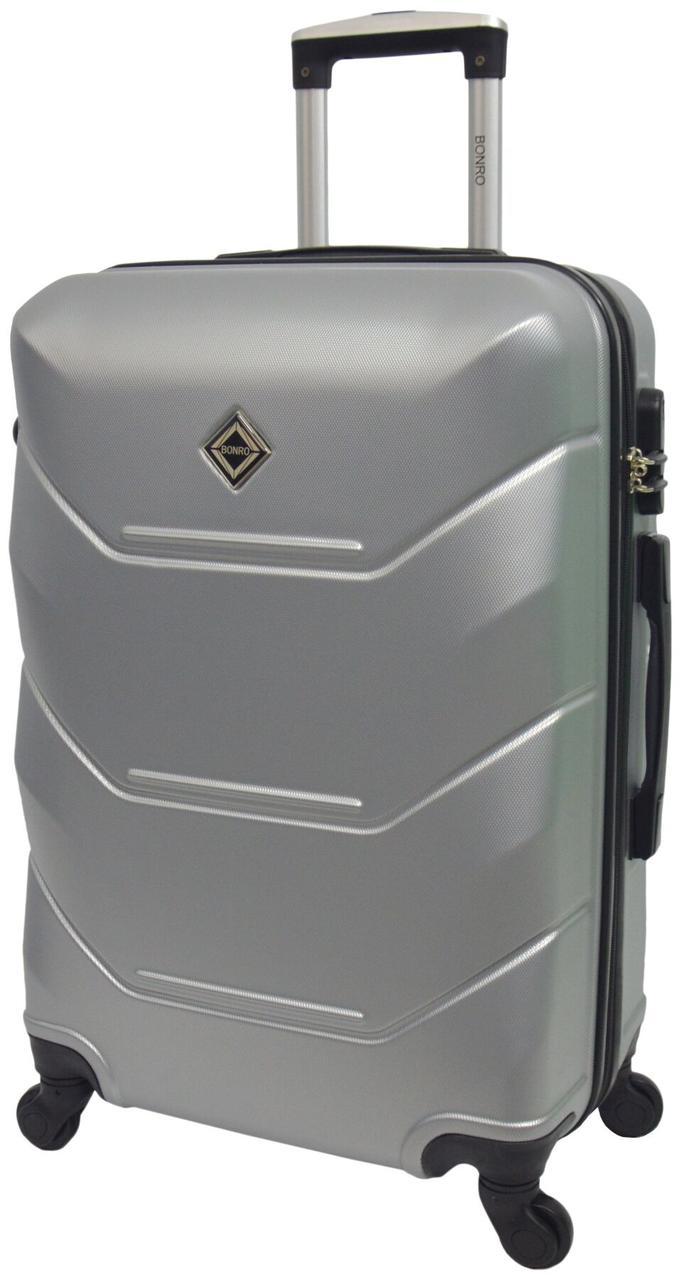 Небольшой дорожный чемодан на 4 колесах Bonro серебристого цвета с кодовым замком