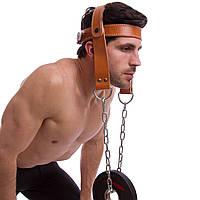 Упряжь для тренировки мышц шеи Zelart ZB-12021 (кожа, металл, р-р регулируемый)