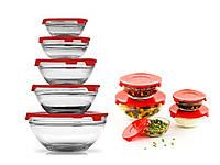 🔝 Набор стеклянных пищевых контейнеров для еды, 5 шт. с красной крышкой, пищевой ланч бокс | 🎁%🚚