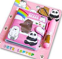 🔝 Блокнотик | красивые блокноты для девочек + ручка для детей - Розовый, Три медведя (блокнот для дівчаток) | 🎁%🚚
