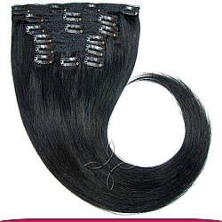 Натуральные Европейские Волосы на Заколках 50 см 100 грамм, Черный №01