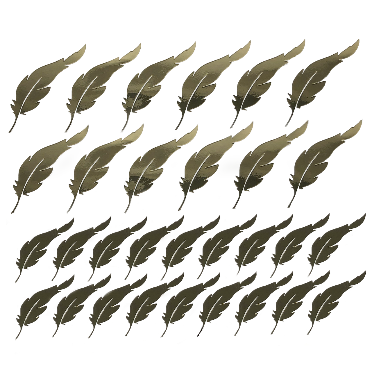 Набор наклеек Перья зеркальные золото + монтажная пленка