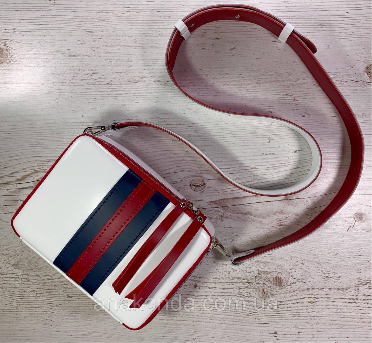 66-ТХр Натуральная кожа Сумка кросс-боди широкий ремень белая Сумка на плечо кожаная сумка женская Tommy Hilfi