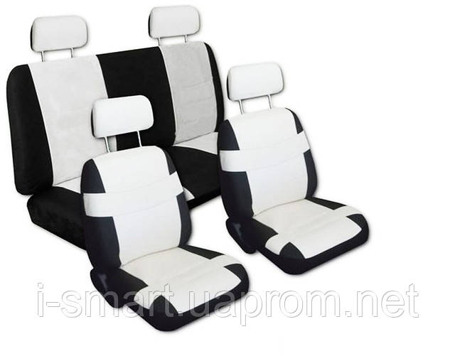 Авточехлы  автомобильная кожа комби + чехол на руль + 2 на ремни