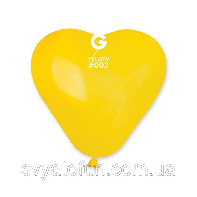 """Латексные воздушные шарики-сердца 6"""" пастель 02 желтый 100шт Gemar"""