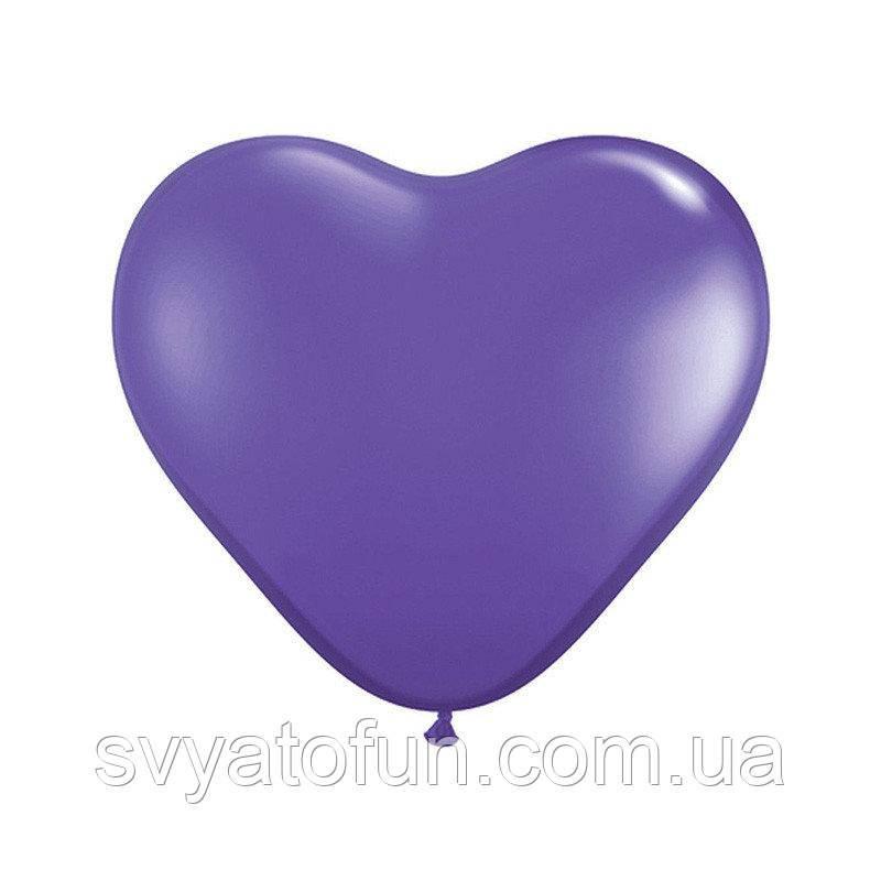 """Латексные воздушные шарики-сердца 6"""" пастель 08 фиолетовый 100шт Gemar"""