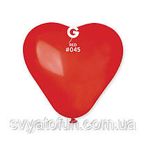 """Латексные воздушные шарики-сердца 6"""" пастель 45 красный 100шт Gemar"""