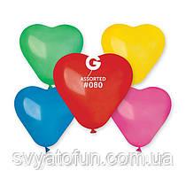 """Латексные воздушные шарики-сердца 6"""" пастель 80 ассорти 100шт Gemar"""