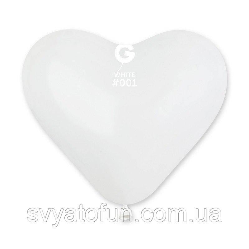 """Латексные воздушные шарики-сердца 10"""" пастель 01 белый 100 шт Gemar"""