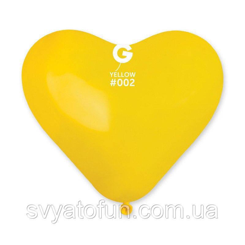 """Латексные воздушные шарики-сердца 10"""" пастель 02 желтый 100шт Gemar"""