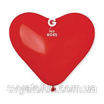 """Латексные воздушные шарики-сердца 10"""" пастель 45 красный 100шт Gemar"""