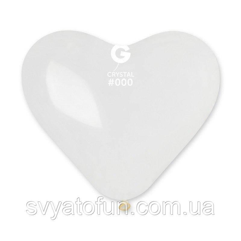 """Латексный воздушный шарик-сердце 10"""" пастель 00 прозрачный 1шт Gemar"""