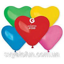 """Латексные воздушные шарики-сердца 10"""" пастель 80 ассорти 100шт Gemar"""