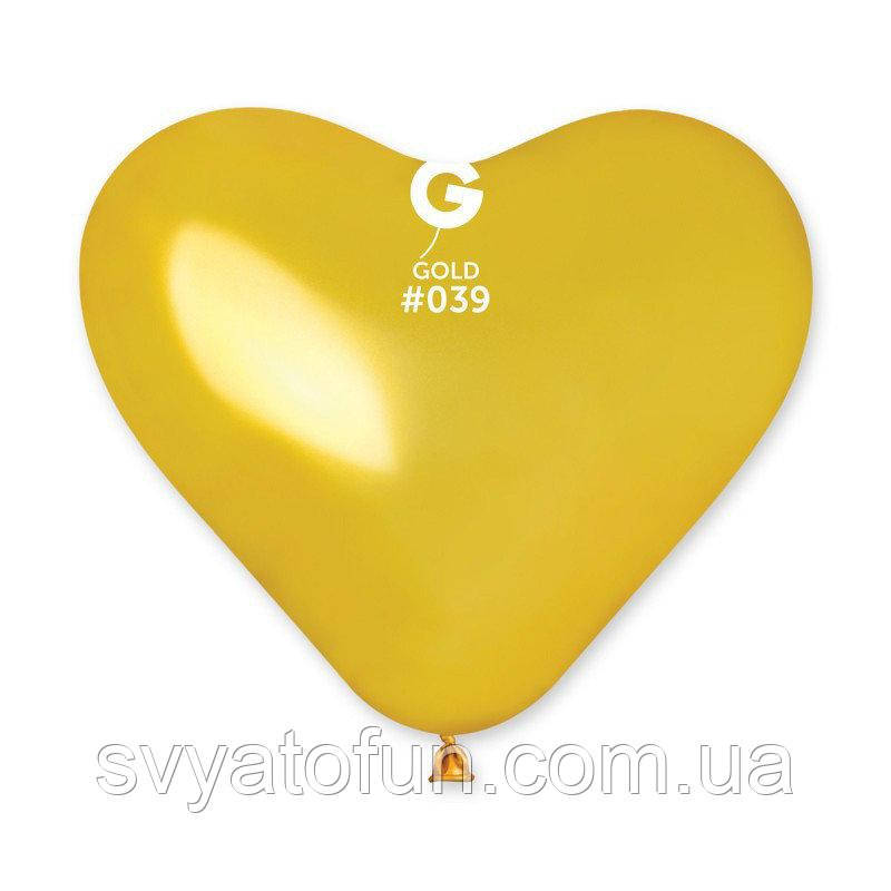 """Латексный воздушный шарик-сердце 10"""" металлик 39 золото 1шт Gemar"""