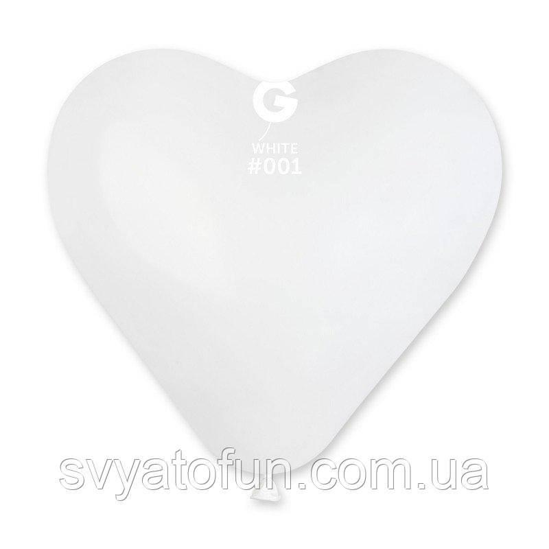 """Латексный воздушный шарик-сердце 17"""" пастель 01 белый 1шт Gemar"""