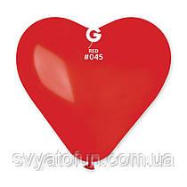 """Латексный воздушный шарик-сердце 17"""" пастель 05 красный 1шт Gemar"""