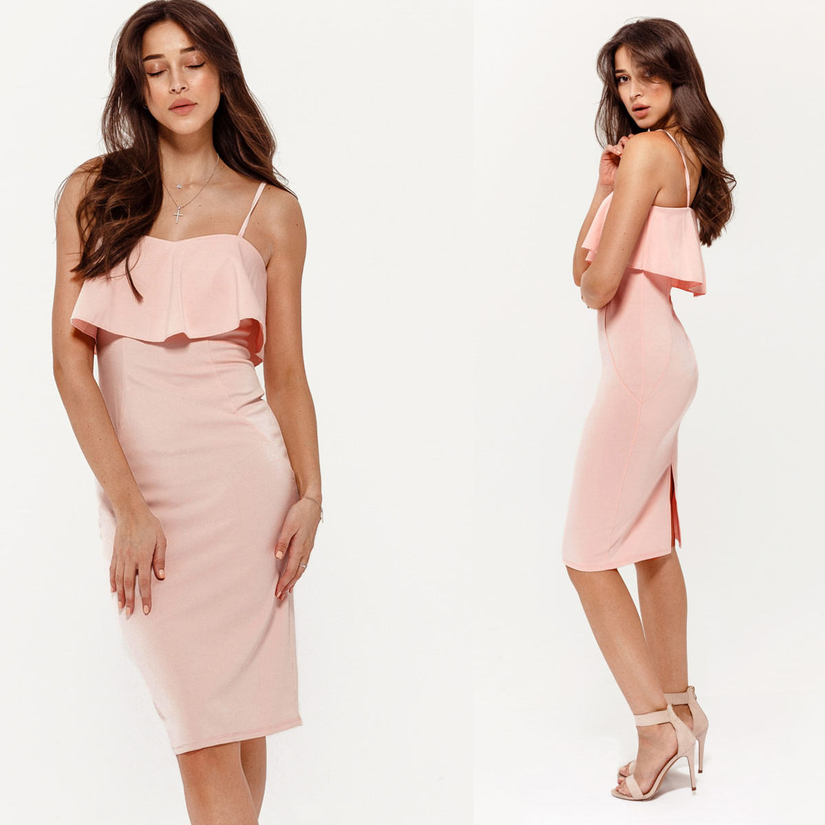 Пудровим плаття з воланом (Код MF-217)