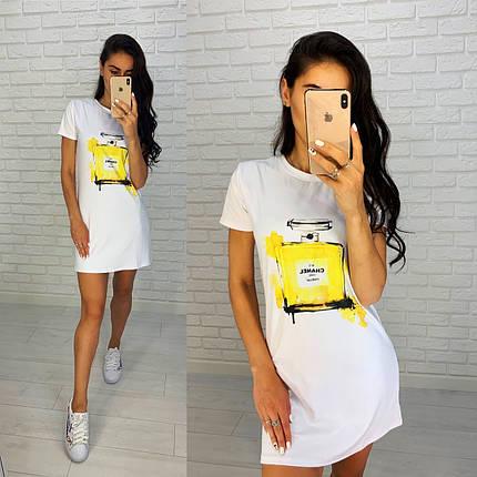 Тренд лета 2021 платье белое футболка свободное с рисунком брендов, фото 2