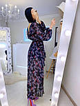 Женское шифоновое платье темно-синее с цветочным принтом и рюшами, фото 4
