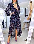 Женское шифоновое платье темно-синее с цветочным принтом и рюшами, фото 2