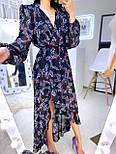 Женское шифоновое платье темно-синее с цветочным принтом и рюшами, фото 5